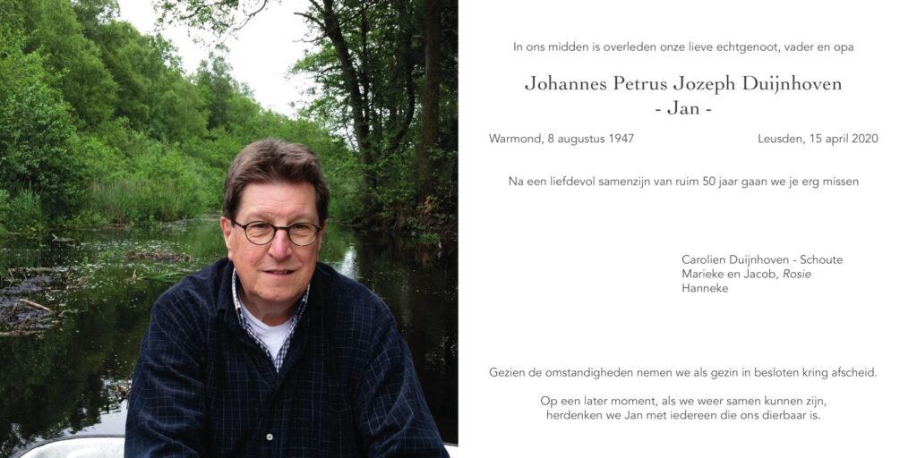 Rouwkaart Jan Duijnhoven